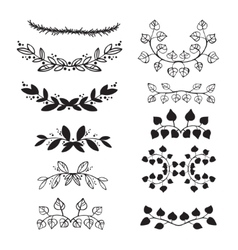 Elegant floral decorative elements set with vector image