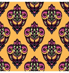 Festive Summer Damask Flower Seamless Pattern vector