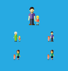 Flat icon relatives set of grandma daugther son vector
