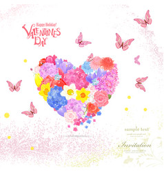 floral heart from different spring flowers with vector image