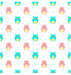 Fluffy blue and pink owls with dotted background vector