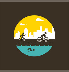 For triathlon poster flat vector