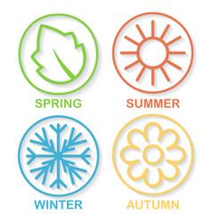 Four nature seasons circles shadow vector