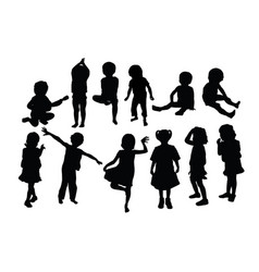 funny kid silhouettes vector image