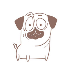 Funny puppy pug dog outline cartoon vector