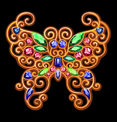 Golden decoration of a butterfly on a black vector