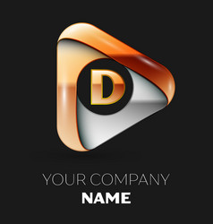Golden letter d logo in golden-silver triangle vector