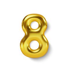 Golden number balloon 8 eight realistic 3d vector