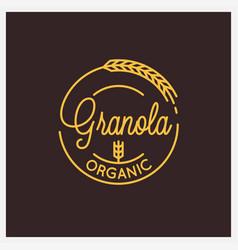 granola organic logo round linear logo granola vector image