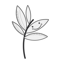 Grayscale kawaii plant with eyes and mouth vector