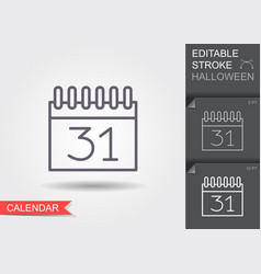 halloween calendar line icon with editable stroke vector image