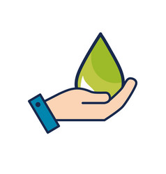 hand with ecological drop to environment care vector image