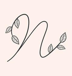 Handwritten letter n monogram or logo brand vector