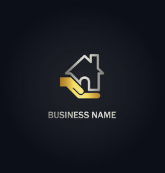 Home care hand business gold logo vector