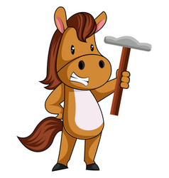 Horse with hammer on white background vector
