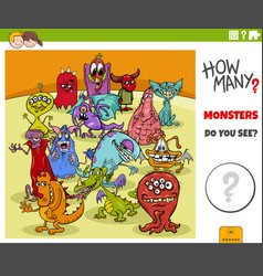 How many cartoon monsters educational game for vector