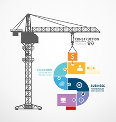 infographic Template with construction tower crane vector image