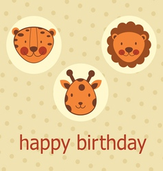 Jungle animals happy birthday vector
