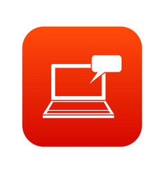 Laptop with bubble speech icon digital red vector