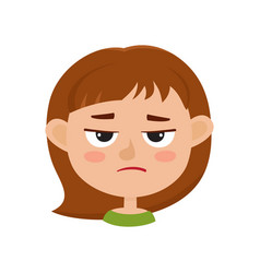 Little girl angry face expression set of cartoon vector
