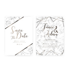 Marble wedding invitation card vector