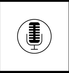 Microphone solid icon mobile sign and sound vector