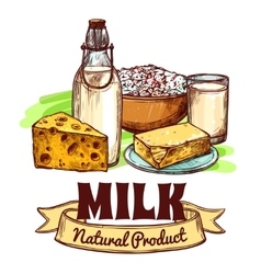 Milk Product Sketch Concept vector image