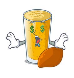 Money eye lassi mango in the character fridge vector
