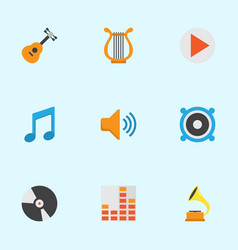 Music flat icons set collection of tone acoustic vector
