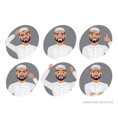muslim arab man character set of avatars vector image