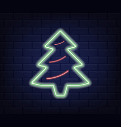 neon green christmas tree vector image