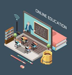 Online education isometric design concept vector
