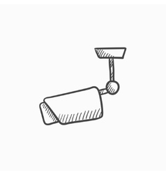 Outdoor surveillance camera sketch icon vector image