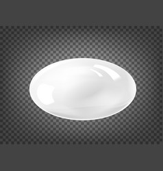 Oval white pearl isolated on black transparent vector