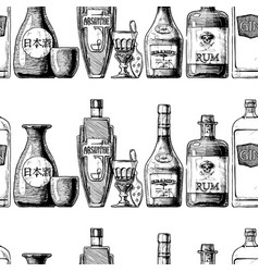 pattern with bottles alcohol vector image
