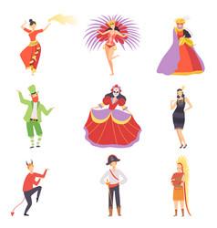 People in bright festival costumes set masquerade vector