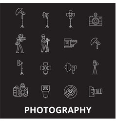 photography editable line icons set on vector image