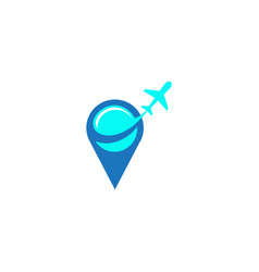 plane in pin fly logo design on white background vector image