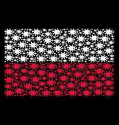Polish flag mosaic of bacteria icons vector