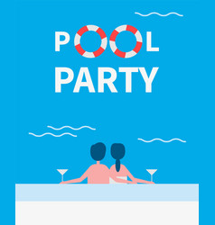 Pool party couple drinking vector