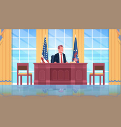 president sitting workplace wooden furniture usa vector image
