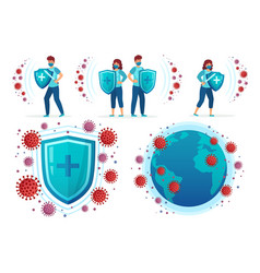 Protect from corona virus people fight covid-19 vector