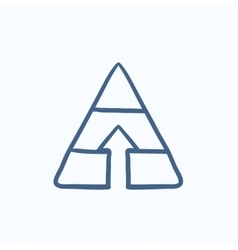 Pyramid with arrow up sketch icon vector image
