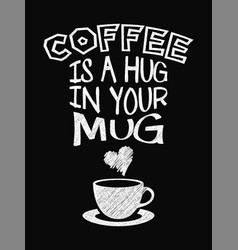 quote coffee poster coffee is a hug in your mug vector image