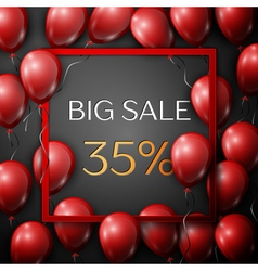 Realistic red balloons with text Big Sale 35 vector