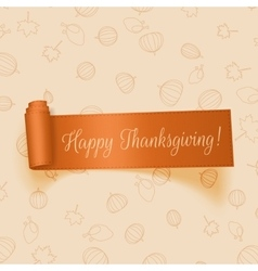 Realistic Thanksgiving orange Ribbon vector image