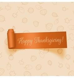 realistic thanksgiving orange ribbon vector image