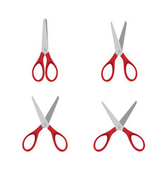 red scissors set on a white background vector image