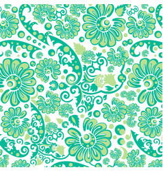Seamless green floral wallpaper vector