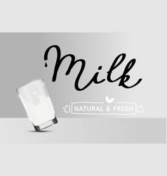 Simple milk poster falling glass non vector